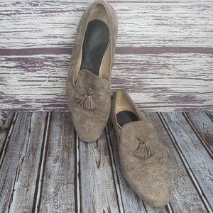 J.crew Georgie suede tassel slip on shoes size 9